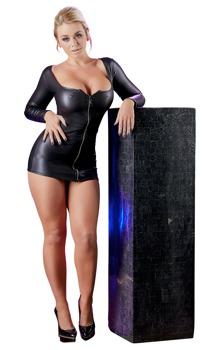 Minikleid mit Glitzer-Reißverschluss